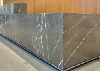 Marble Wrapped Desk Mitered Lamination Surface One