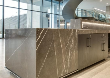 Greystone Marble Mitered Lamination Desk Surface One
