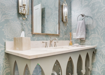 Crema Marfil Honed Marble Bathroom Countertop
