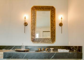 Soapstone Mitered Edge Bathroom Countertops