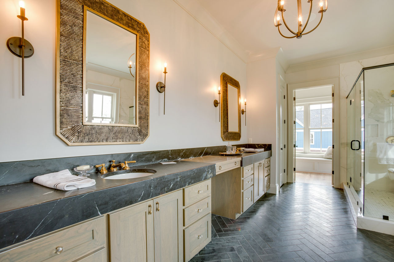 Stunning Master Bathroom With Soapstone Countertops Surface One