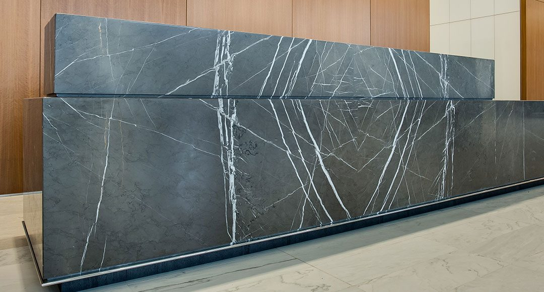 Marble Wrapped Corporate Reception Desk