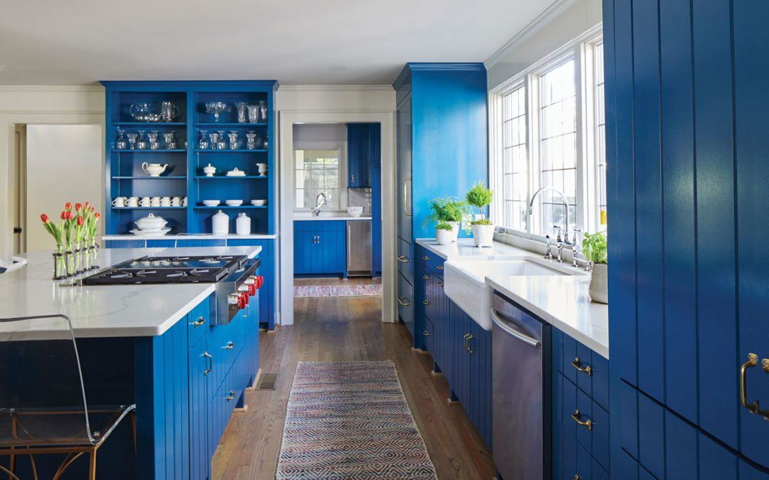 Blue Cabinets Add A POP To White Quartz Countertops